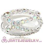 925 Sterling Silver Glistening Meander Charm Beads With Crystal AB Austrian Crystal