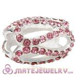 925 Sterling Silver Glistening Meander Charm Beads With Light Rose Austrian Crystal