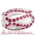 925 Sterling Silver Glistening Meander Charm Beads With Rose Austrian Crystal