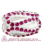 925 Sterling Silver Glistening Meander Charm Beads With Fuchsia Austrian Crystal