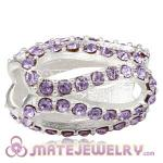925 Sterling Silver Glistening Meander Charm Beads With Violet m Austrian Crystal