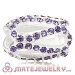 925 Sterling Silver Glistening Meander Charm Beads With Tanzanite m Austrian Crystal