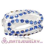 925 Sterling Silver Glistening Meander Charm Beads With Sapphire Austrian Crystal