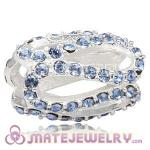925 Sterling Silver Glistening Meander Charm Beads With Light Sapphire Austrian Crystal