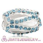 925 Sterling Silver Glistening Meander Charm Beads With Aquamarine Austrian Crystal