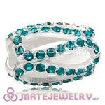 925 Sterling Silver Glistening Meander Charm Beads With Blue Zircon Austrian Crystal