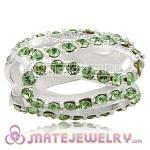925 Sterling Silver Glistening Meander Charm Beads With Peridot Austrian Crystal