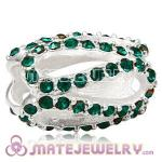 925 Sterling Silver Glistening Meander Charm Beads With Emerald Austrian Crystal