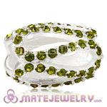 925 Sterling Silver Glistening Meander Charm Beads With Olivine Austrian Crystal