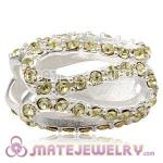 925 Sterling Silver Glistening Meander Charm Beads With Jonquil Austrian Crystal