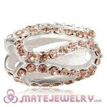 925 Sterling Silver Glistening Meander Charm Beads With Light Peach Austrian Crystal