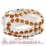 925 Sterling Silver Glistening Meander Charm Beads With Topaz Austrian Crystal