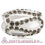 925 Sterling Silver Glistening Meander Charm Beads With Black Diamond Austrian Crystal