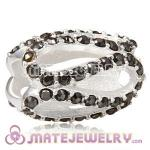 925 Sterling Silver Glistening Meander Charm Beads With Jet Austrian Crystal