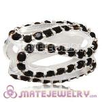 925 Sterling Silver Glistening Meander Charm Beads With Jet Hematite Austrian Crystal