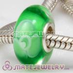 European petal beads with green color murano glass beads