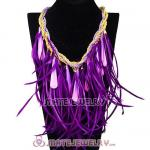 Ladies Jewellery Chunky Rope Drip Feather Tassel Choker Bib Necklace
