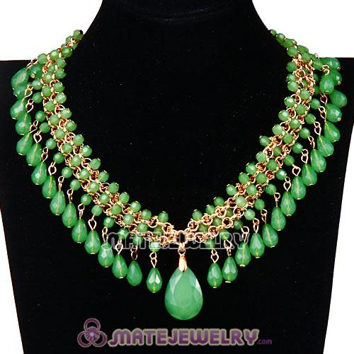 2013 Chunky Multi Layers Green Resin Plastic Bubble Bib Necklace