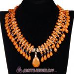 2013 Chunky Multi Layers Yellow Resin Plastic Bubble Bib Necklace
