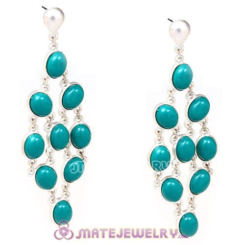 Silver Plated Blue Resin Drop Bubble Earrings Wholesale
