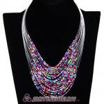 Multi Layer Beaded Bubble Bib Costume Jewelry Necklace