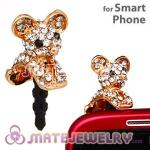 Pave Crystal Alloy Cartoon Earphone Jack Plug Fit iphone
