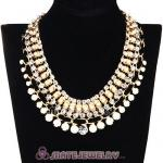 Chunky Gold Chain Resin Rhinestone Pearl Choker Collar Necklace