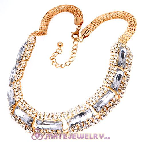 Chunky Gold Chain Resin Rhinestone Crystal Choker Collar Necklace
