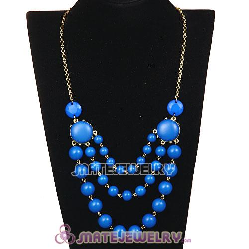 Gold Chain Three Layers Dark Blue Bubble Bib Statement Necklace