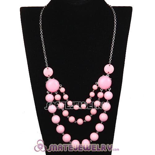Fashion Silver Chains Three Layers Pink Resin Bubble Bib Necklace