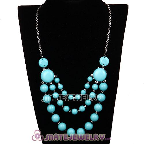Fashion Silver Chains Three Layers Turquoise Resin Bubble Bib Necklace