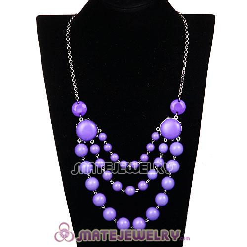 Fashion Silver Chains Three Layers Lavender Resin Bubble Bib Necklace