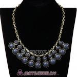Fashion Grey Resin Bubble Choker Bib Statement Necklace