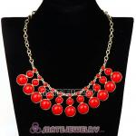 Fashion Coral Red Resin Bubble Bib Statement Necklace