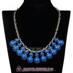 Fashion Dark Blue Resin Bubble Choker Bib Statement Necklace