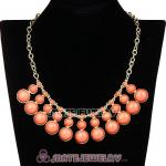 Fashion Orange Resin Bubble Choker Bib Statement Necklace