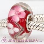 European flower lump beads with pink color murano glass beads