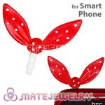 Wholesale Enamel Red Ribbonne Earphone Jack Accessory Plug
