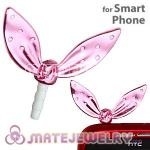 Wholesale Enamel Pink Ribbonne Earphone Jack Accessory Plug