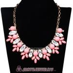 Pink Resin Rhinestone Crystal Marquess Lily Choker Bib Necklaces
