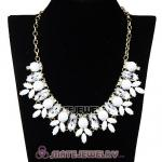 White Resin Rhinestone Crystal Marquess Lily Choker Bib Necklaces