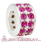 European Sterling Silver Spacer Beads with Fuchsia Austrian Crystal