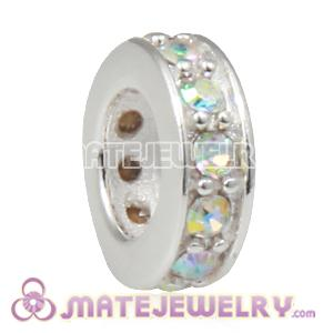 European Sterling Silver Spacer Beads with Crystal AB Austrian Crystal