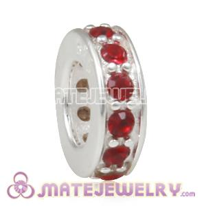 European Sterling Silver Spacer Beads with Siam Austrian Crystal