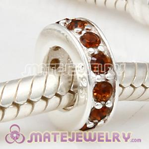 European Sterling Silver Spacer Beads with Smoked Topaz Austrian Crystal