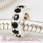 European Sterling Silver Spacer Beads with Jet Austrian Crystal