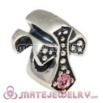 925 Sterling Silver European Cross Charm Bead with Light Rose Austrian Crystal