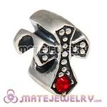 925 Sterling Silver European Cross Charm Bead with Light Siam Austrian Crystal