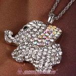 Fashion Silver Plated bling bling Crystal Elephant Pendant Necklaces Wholesale