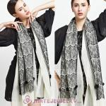Urban Retro White Wool with Black Lace Pashmina Shawl Scarves